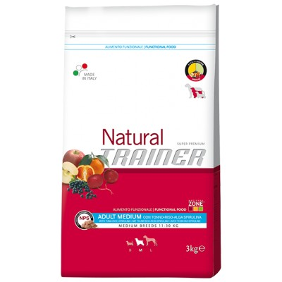 Trainer Natural Adult Medium con Tonno, Riso e Alga Spirulina