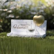 Lapidi commemorativa dado con cuore - colore grigio